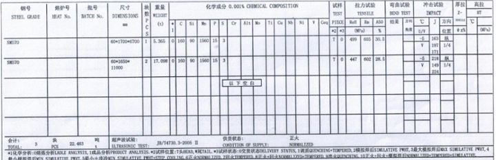 舞钢日标低合金SM570钢板实物质量